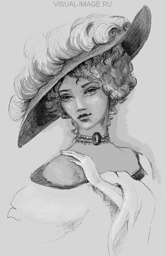 Sketch of woman retro