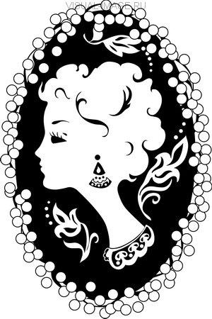 Woman cameo vintage profile