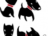 Set of funny cartoon  black dogs