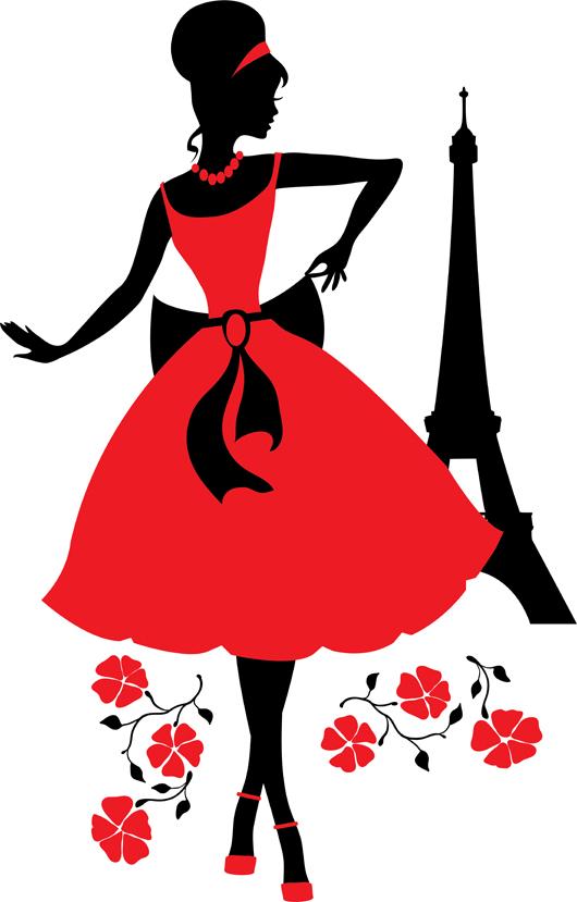 Retro woman silhouette