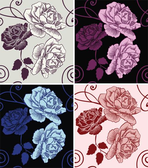 Минималистичный паттерн с розами в графическом стиле